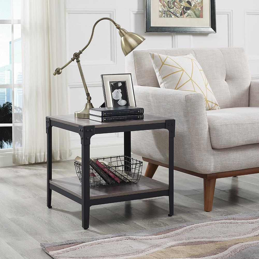 Angle Iron Rustic Wood End Table In Grey Wash Set Of 2