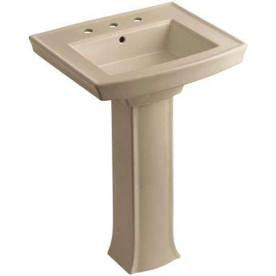 Archer Vitreous China Pedestal Combo Bathroom Sink in Mexican Sand with Overflow Drain