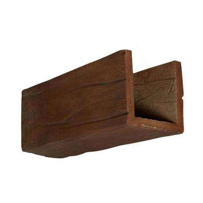 6 in. x 6 in. x 12 in. 3 Sided (U-Beam) Riverwood Pecan Endurathane Faux Wood Ceiling Beam Premium Sample