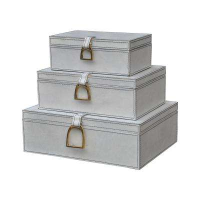 Nested Gray-White Leather and Brass Decorative Boxes (Set of 3)
