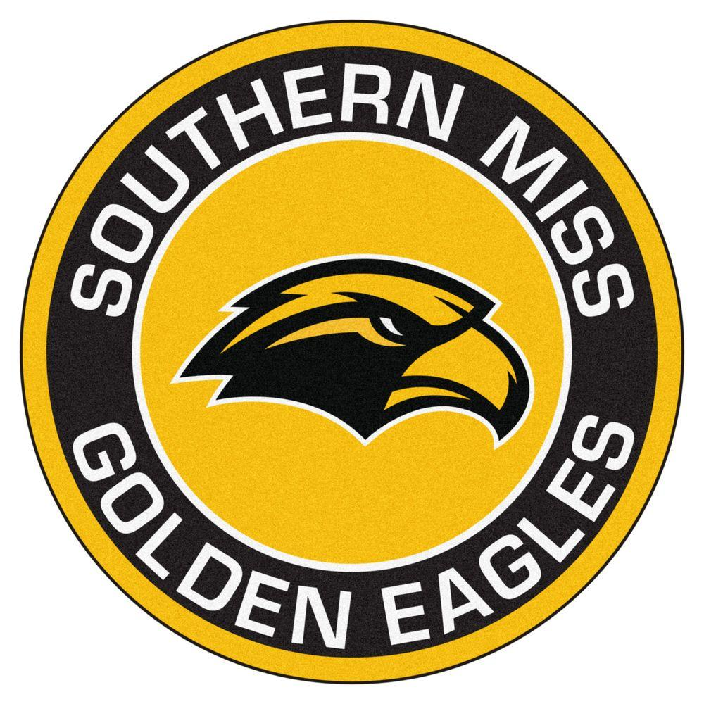 NCAA University of Southern Mississippi Black 2 ft. x 2 ft. Round Area Rug