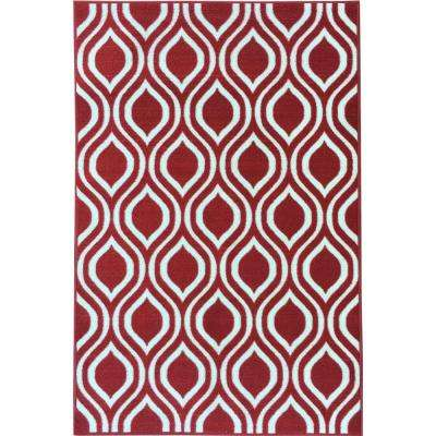 Rose Collection Contemporary Moroccan Trellis Design Red 5 ft. x 7 ft. Non-Skid Area Rug