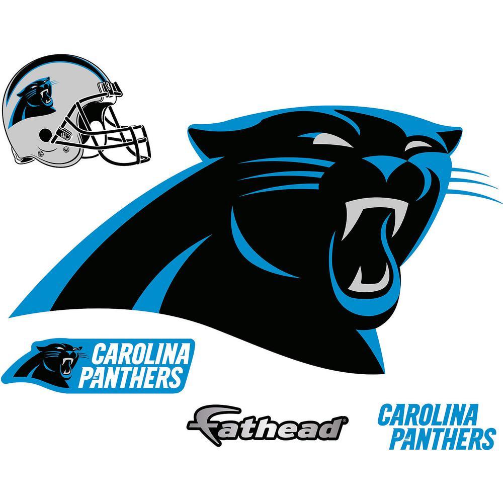 31 in. H x 57 in. W Carolina Panthers Logo Wall Mural