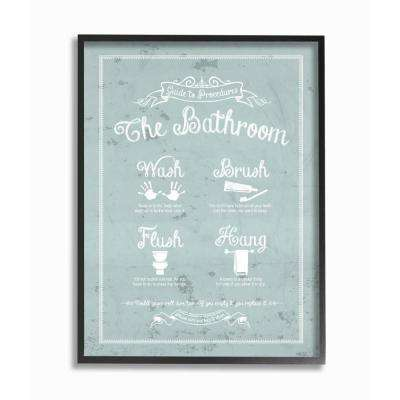 """16 in. x 20 in. """"Guide To Procedures Bathroom Blue"""" by Lettered and Lined Wood Framed Wall Art"""