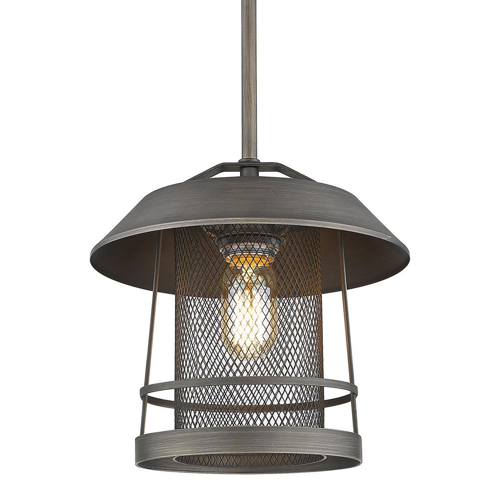 Parsons 1-Light Gunmetal Bronze Lantern Pendant with Steel Shade