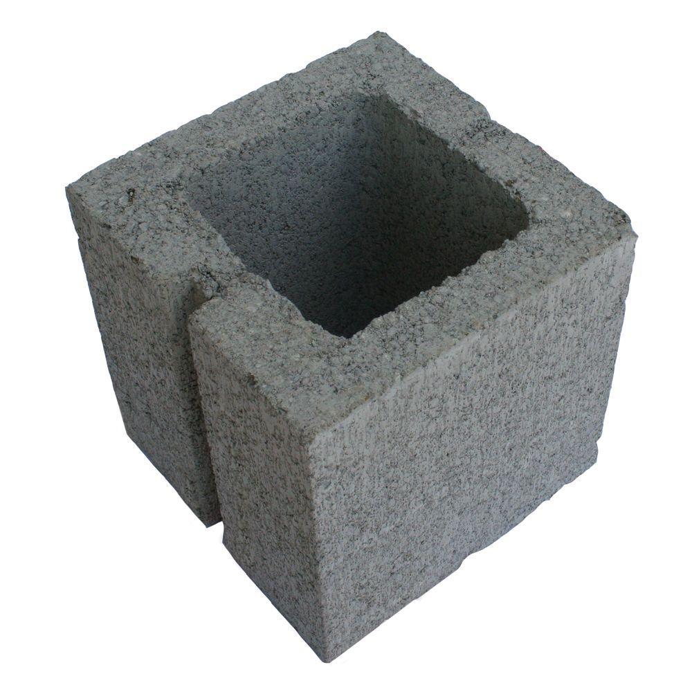 8 In X 8 In X 8 In Gray Concrete Half Block 100002885