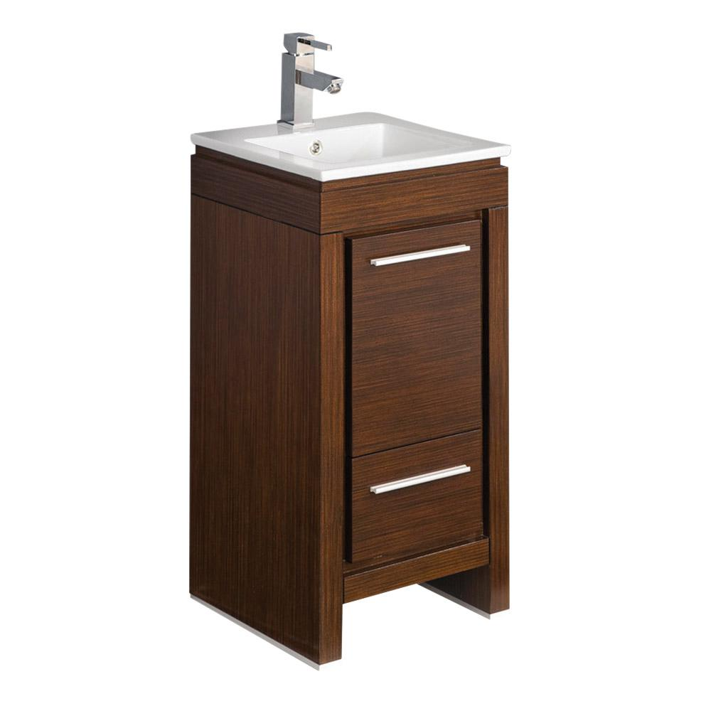 Fresca Allier 16 in. Bath Vanity in Wenge Brown with Ceramic Vanity Top in White with White Basin