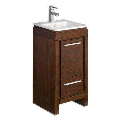 Allier 16 in. Bath Vanity in Wenge Brown with Ceramic Vanity Top in White with White Basin