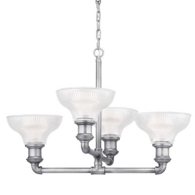 Foxcroft 4-Light Antique Nickel Chandelier with Clear Prismatic Glass Shades