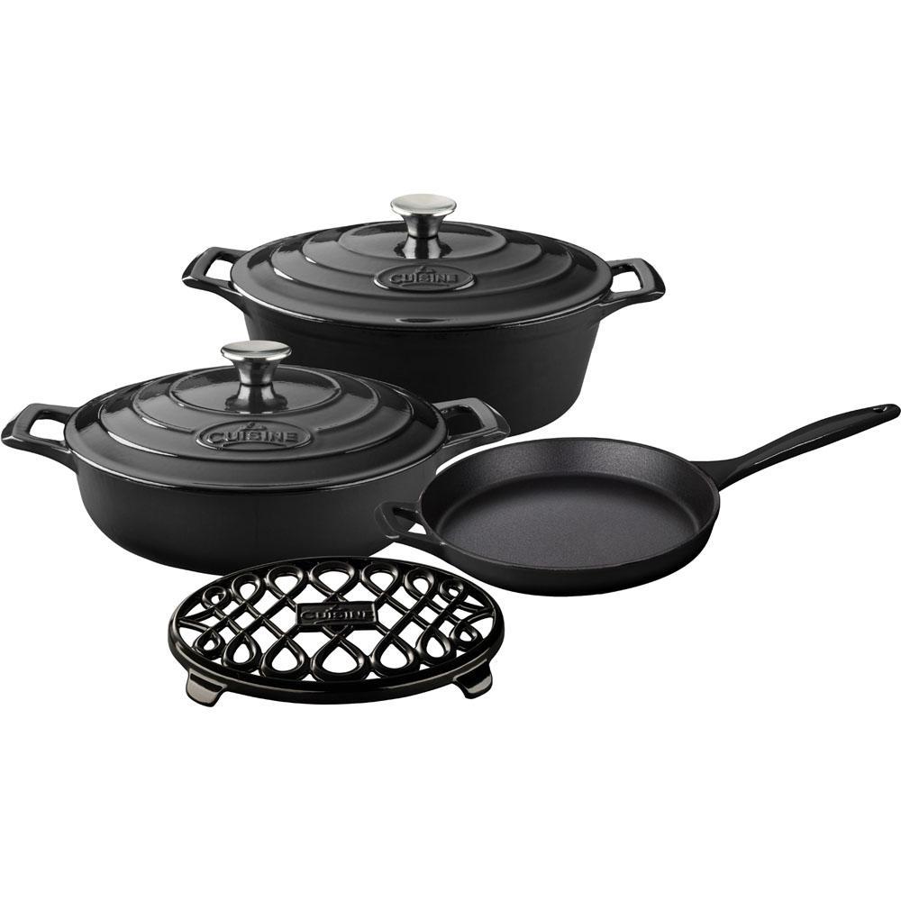 La Cuisine 6-Piece Enameled Cast Iron Cookware Set with S...