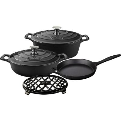 6-Piece Enameled Cast Iron Cookware Set with Saute, Skillet and Oval Casserole with Trivet in Black