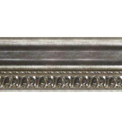 Grand Baroque 1 in. x 6 in. x 96 in. Wood Ceiling Crown Molding in Crosshatch Silver