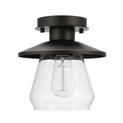 1-Light Oil Rubbed Bronze and Glass Vintage Semi-Flush Mount