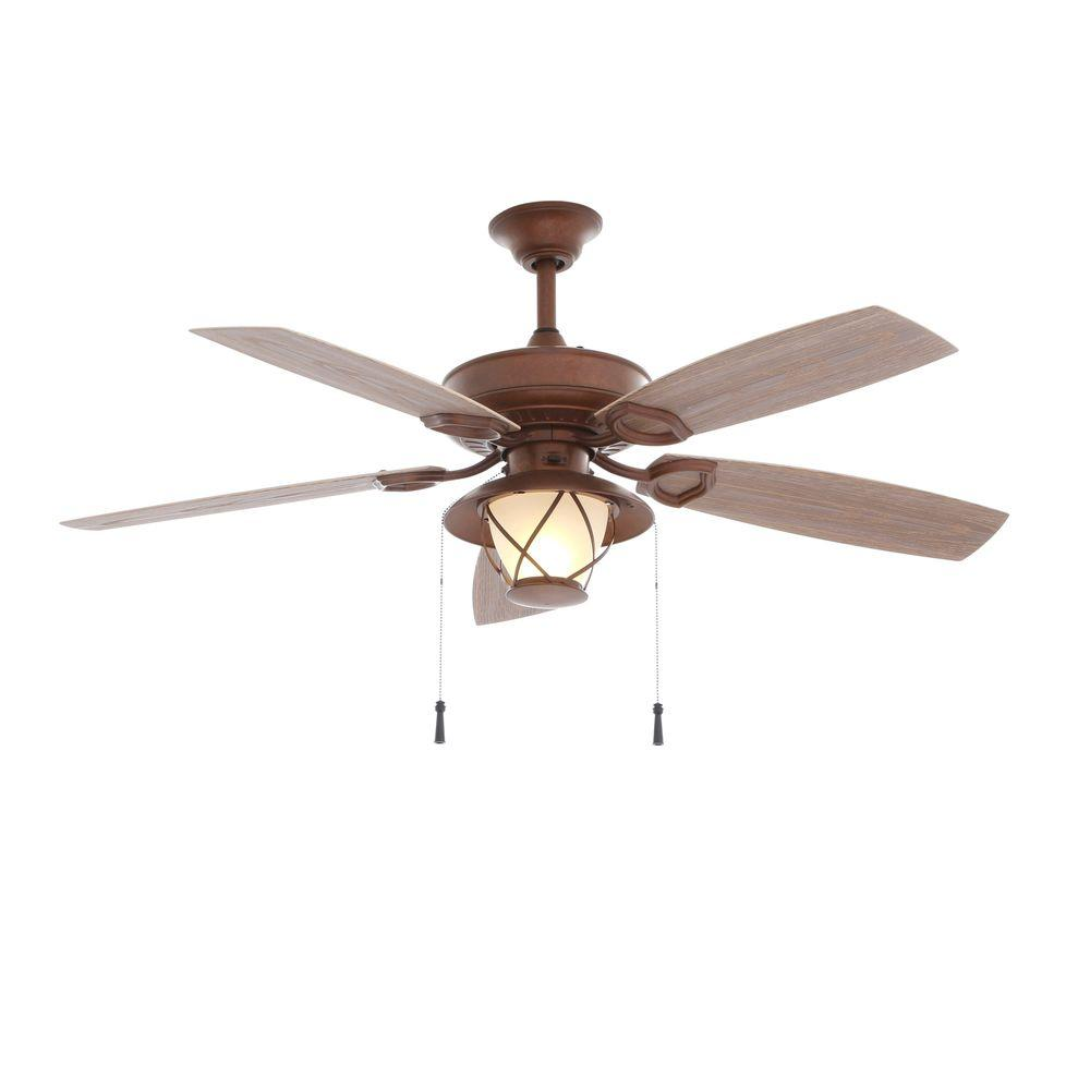 rustic copper ceiling fan with light