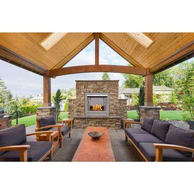 31.5 in. Stainless Vent-Free Outdoor Gas Fireplace Insert with Copper Fire Glass Media
