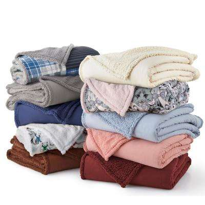 Meadow Sherpa Back Polyester King Blanket