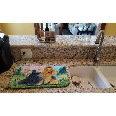 14 in. x 21 in. Multicolor Yorkie Dish Drying Mat