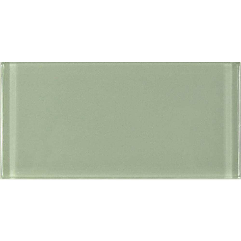 Metro 3 in. x 6 in. Celery Green Glass Peel and