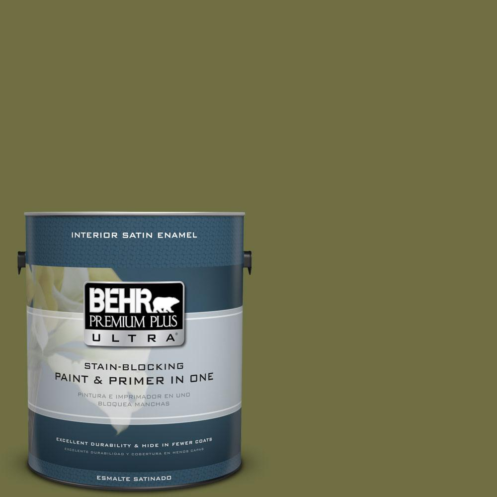 BEHR Premium Plus Ultra 1-gal. #M340-7 Classic Avocado Satin Enamel Interior Paint
