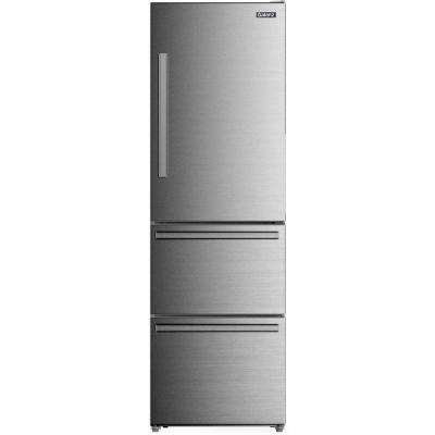 24.4 in. W 12.4 cu. ft. Frost Free Bottom Freezer Refrigerator in Stainless Steel with Ice Maker