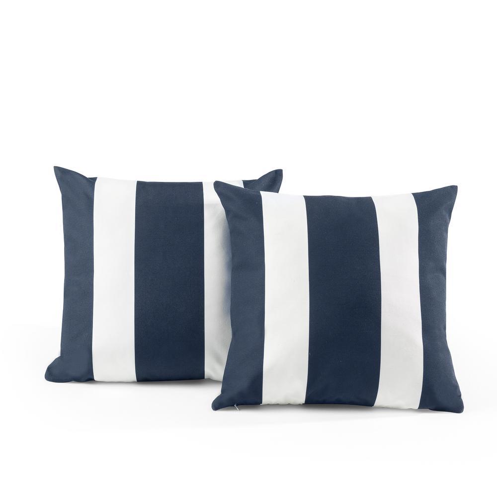 Tecoria Navy Awning Stripe Outdoor Square Throw Pillow Set