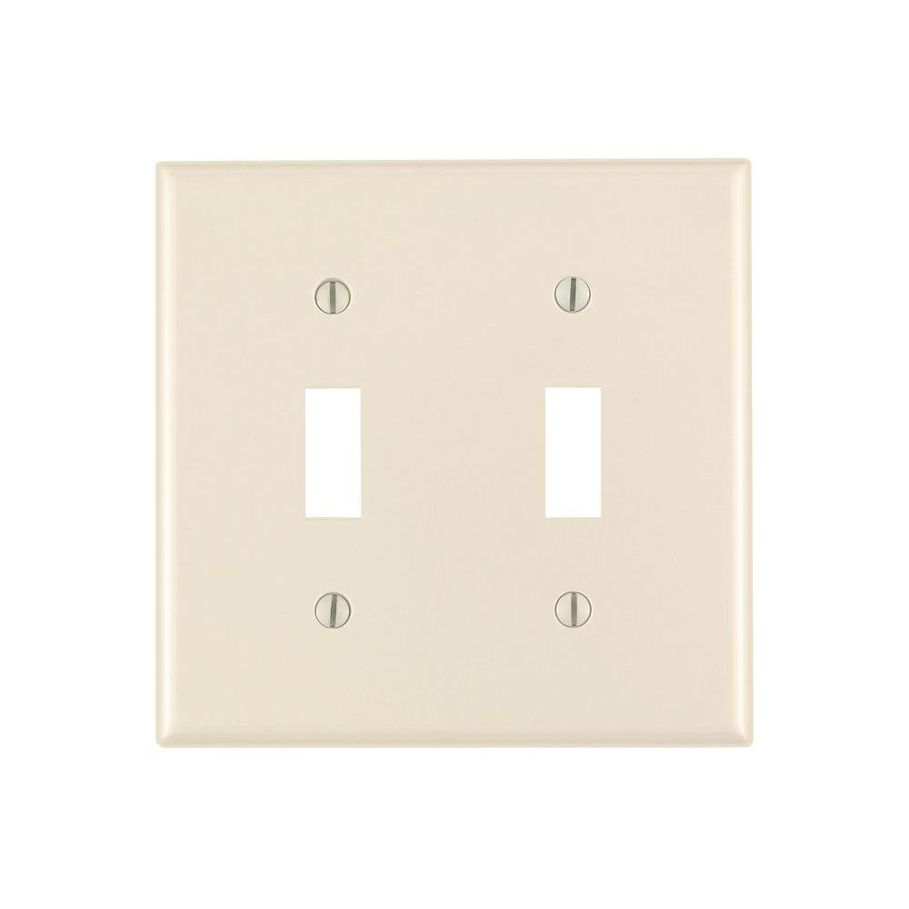 Leviton 2-Gang Toggle Wall Plate, Light Almond-R56-78009