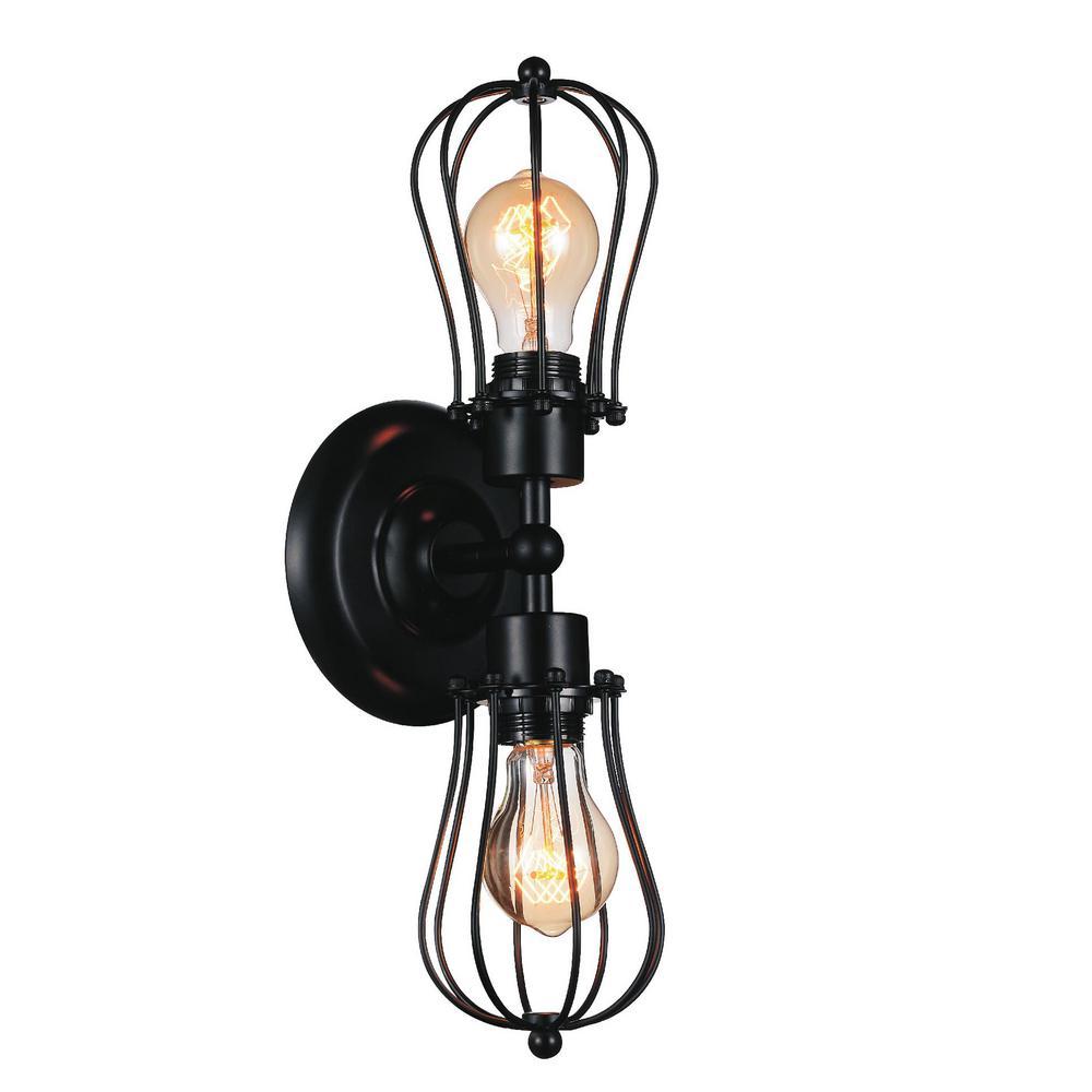 Tomaso 2-Light Black Sconce