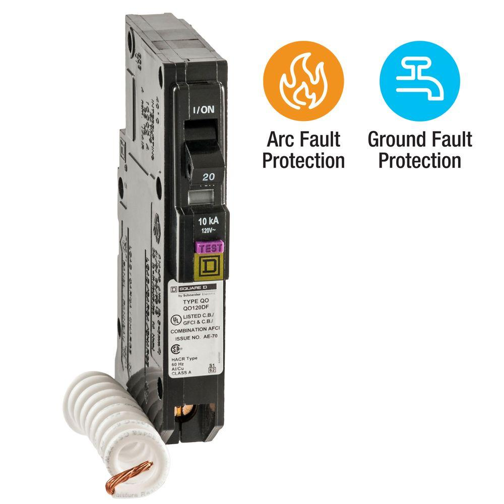 Square D QO 20 Amp Single-Pole Dual Function (CAFCI and GFCI) Circuit Breaker
