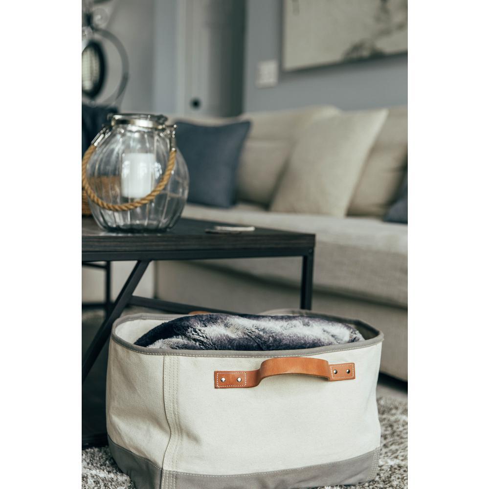Gray Leather Handle Tub Storage Bin