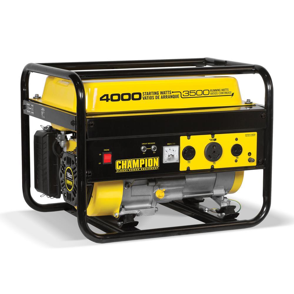 3,500-Watt Recoil Start Gasoline Powered Portable Generator with RV Ready