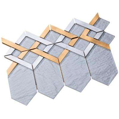 Hexa/01 Super White Glass Coupled with Silver and Gold Aluminum 3 in. x 10 in. Tile Sample