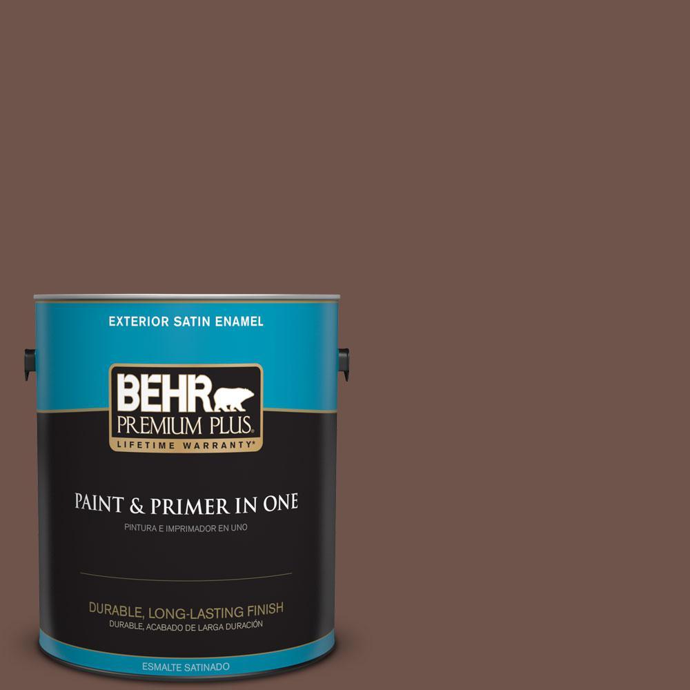 BEHR Premium Plus 1-gal. #N150-6 Coffee Beans Satin Enamel Exterior Paint