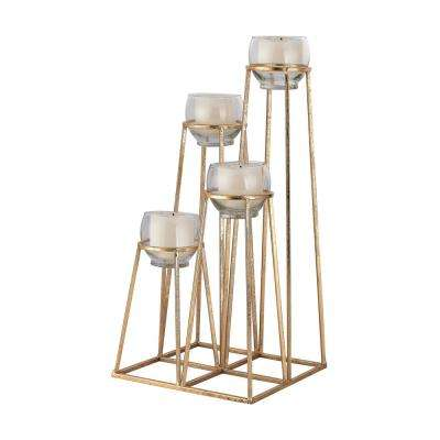 Skyline 23 in. Gold Leaf Cupped Candle Holder