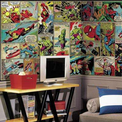 72 in. W x 126 in. H Marvel Comic Panel XL Chair Rail 7-Panel Prepasted Wall Mural