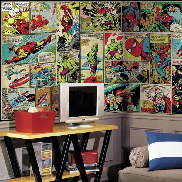2e11acf8c0c RoomMates 72 in. W x 126 in. H Marvel Comic Panel XL Chair Rail 7 ...