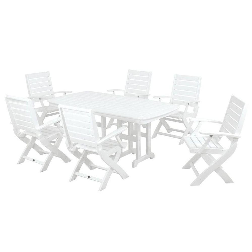 Signature White 7 Piece Plastic Outdoor Patio Dining Set