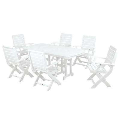 Signature White 7-Piece Plastic Outdoor Patio Dining Set