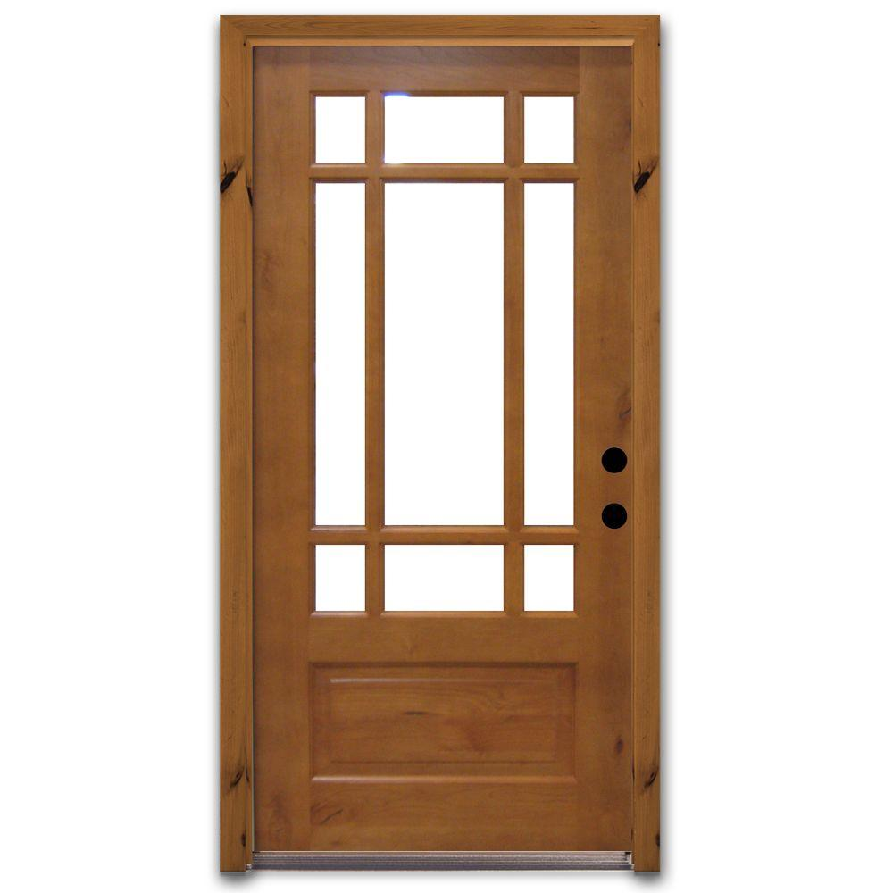 Steves & Sons Craftsman 9 Lite Stained Knotty Alder Wood Prehung Front Door-DISCONTINUED