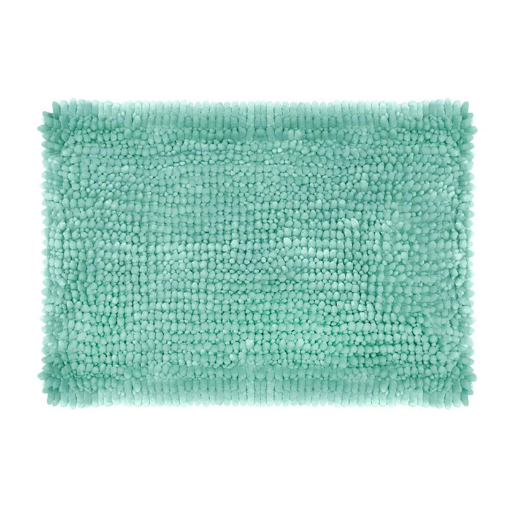 Butter Chenille 17 in. x 24 in. Bath Mat in Aqua