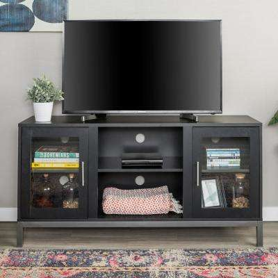 52 in. Avenue Wood TV Console with Metal Legs in Black