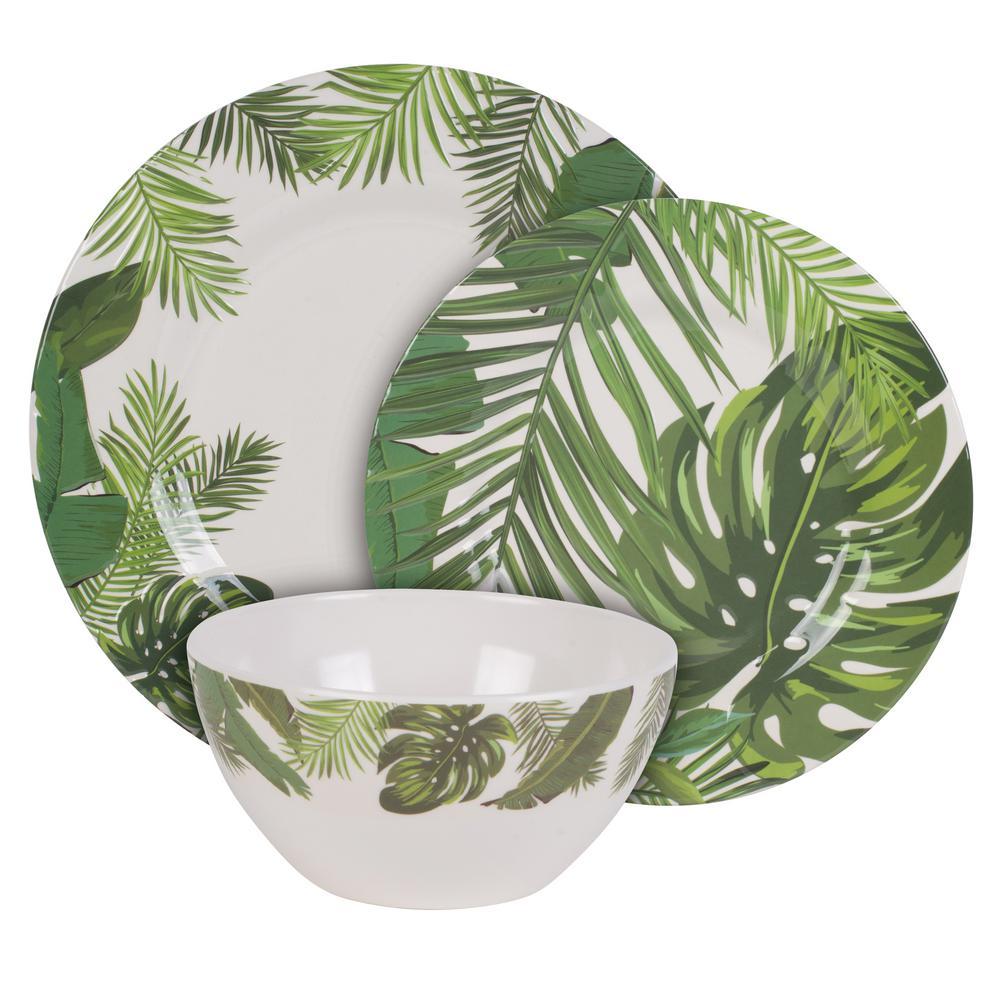 FITZ and FLOYD Tropical Fun 12-Piece Melamine Dinnerware Set (Service For