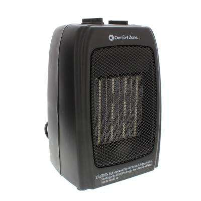 750/1,500-Watt Ceramic Electric Portable Heater with Thermostat and Fan in Black