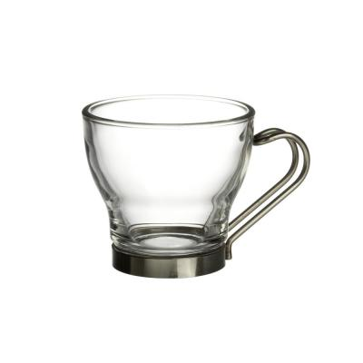 3.5 oz. Oslo Espresso Glass Mugs Clear with Stainless Steel Handle (Set of 4)