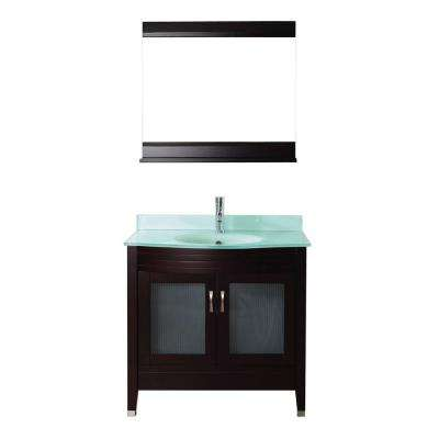 Alba 36 in. Vanity in Chai with Glass Vanity Top in Chai and Mirror