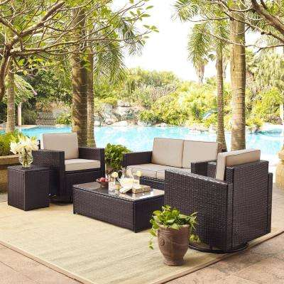 Palm Harbor 5-Piece Wicker Outdoor Conversation Set with Sand Cushions