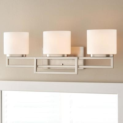 Tustna 3-Light Brushed Nickel Bathroom Vanity Light with Opal Glass Shades