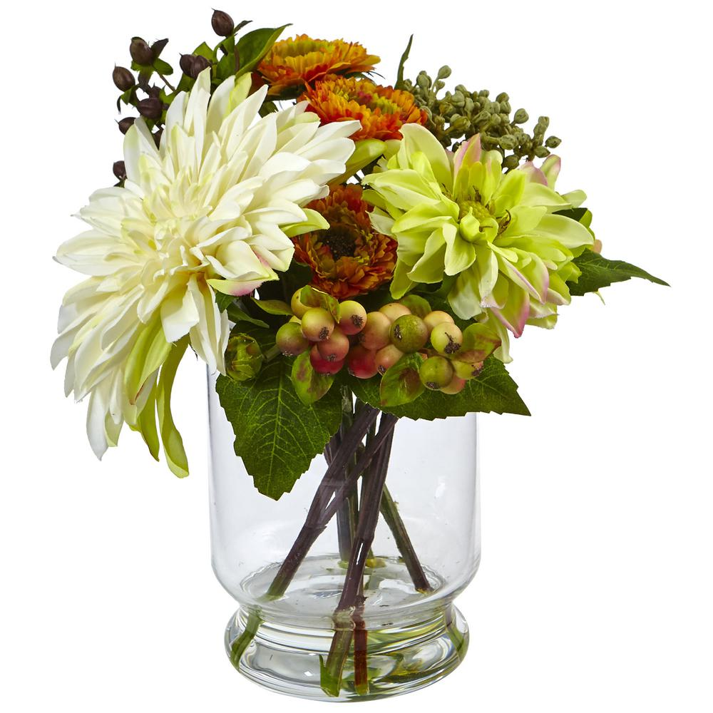 10.5 in. Mixed Dahlia and Mum with Glass Vase