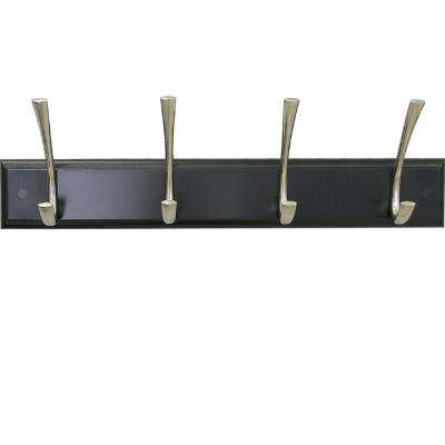 18 in. Espresso Hook Rack with 4-Satin Nickel Hooks