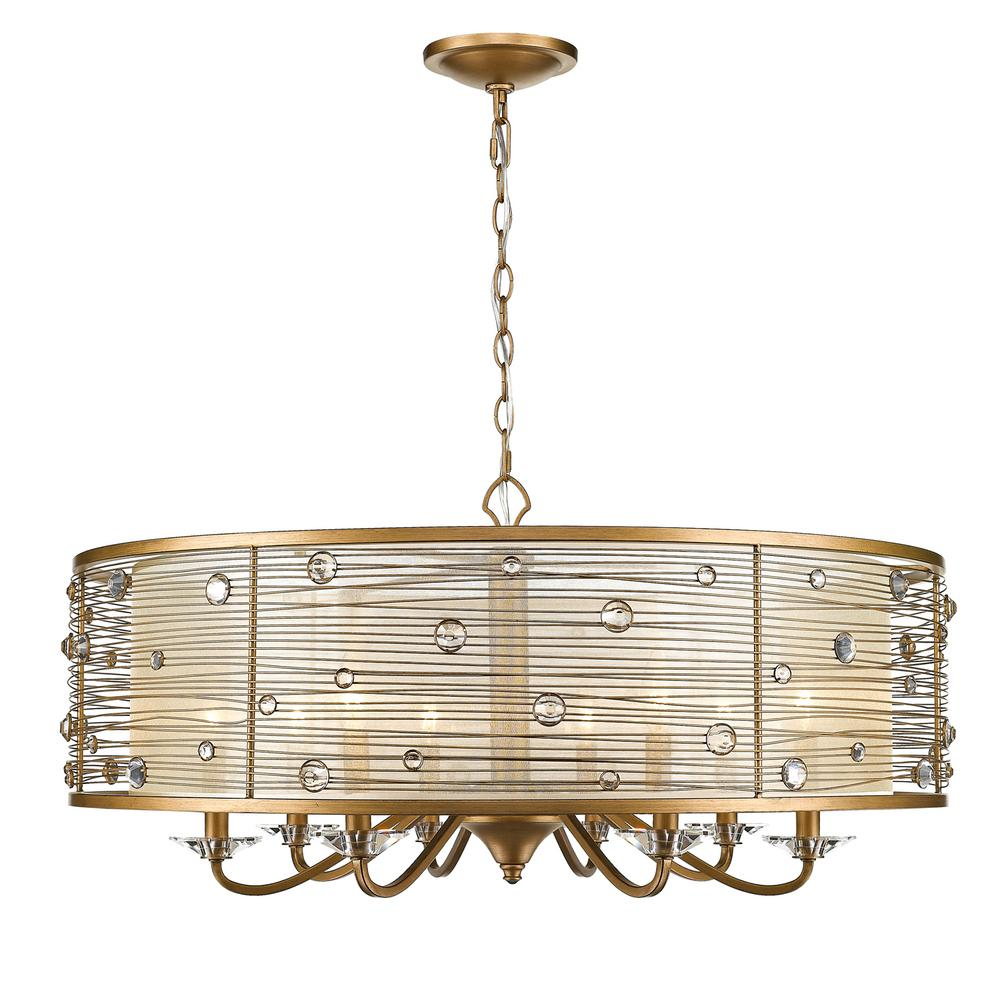 Joia 8-Light Peruvian Gold Chandelier Light with Sheer Filigree Mist Shade