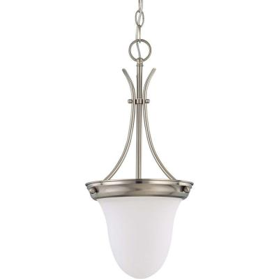 Elektra 1-Light Brushed Nickel Pendant with Frosted White Glass